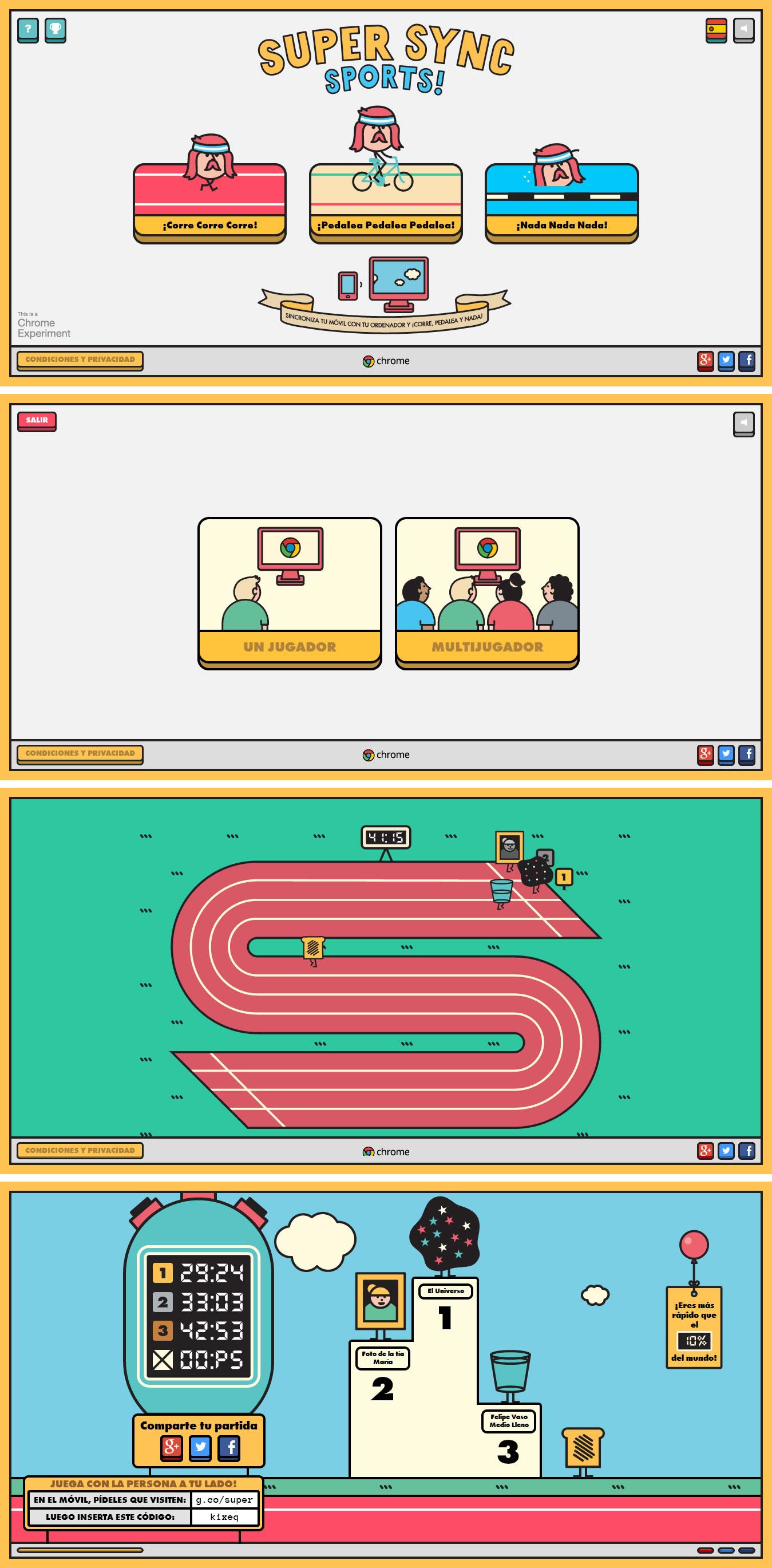 Chrome Super Sync sports, una app web para competir desde el teléfono