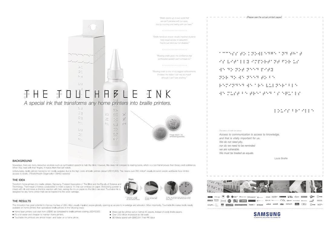 Samsung Tailandia crea una tinta que se convierte en escritura braille