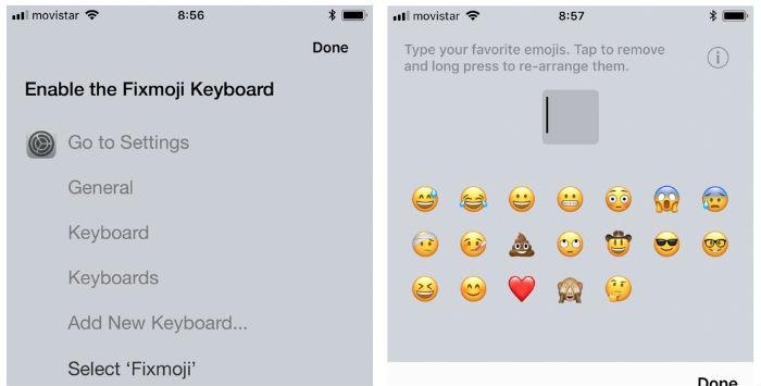 Fixmoji , una aplicación para configurar un teclado con emojis