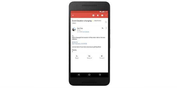 Gmail convierte dirección, número telefónico y contactos en vínculos